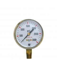 Ametek USG Model P-601 2.5in 0-3000 PSI Brass Compressed Gas Pressure Gauge